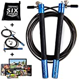 Evolution Six Jump Rope Crossfit Style Adjustable Speed Rope Fitness | The Perfect Crossfit Jump Rope for Boxing, MMA | Extra Speed Cable and Workout System Included | Pro Jumprope