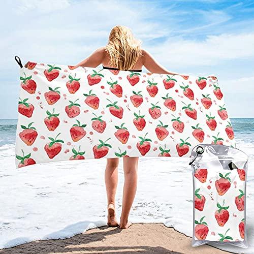 Toalla de baño con patrón de fresa, toalla de gimnasio, toalla de playa, uso multiusos para deportes, viajes, súper absorbente, microfibra