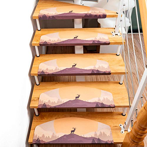 Gzltd Treppenmatten rutschfest Halbkreiselch Stufenmatten Innen 5 Stück PVC Selbstklebend Modern rutschfest Innen-Treppenschutz-Abdeckkissen, 55x22x4,5 cm