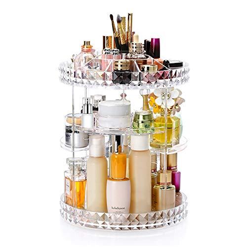 Viesap Make up Organizer,360°Drehbar Beauty Schmink Aufbewahrung Kosmetikbox,Transparent Justierbare Schmucksachen Kosmetischer Aufbewahrungsbehälter,für Schmuck,Pinsel,Lippenstifte,Cremes,Dresser.