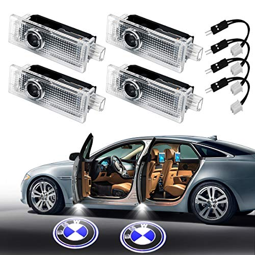 4Pcs Car Door LED Light for BMW, YANF HD Clear Logo Projector Welcome Door Step Light Kit Easy Installation Led Courtesy Ghost Shadow Lights for BMW Cars