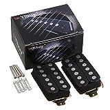 Yibuy 2個入れ ブラック ハムバッカーピックアップ 二重コイル エレキギターのため 金属+マグネット