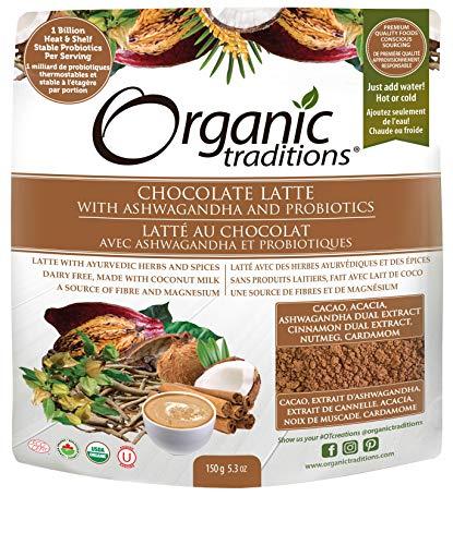 Organic Traditions Chocolate Latte with Ashwagandha & Probiotics - 150 Grams
