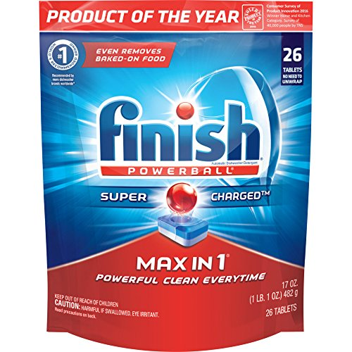 Finish Max in 1 Powerball, 26ct, Wrapper Free Dishwasher Detergent Tablets