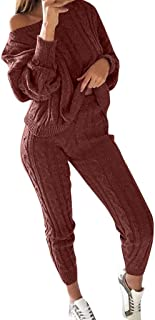 LISTHA Sweater Outfits Women Off Shoulder Cable Knitted Warm Loungewear Pant Set