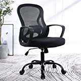 TKEY Ergonomic Mid Back Mesh Office Chair Adjustable Height Desk Chair Swivel Chair Computer Chair with Armrest Lumbar Support (Black)