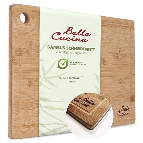 Bella Cucina© Original Profi Bambus Schneidebrett Saftrille | Massives Küchenbrett aus Holz als Einzel| Inklusive Saftrille und Loch zum Aufhängen (Einzelbrett 40x30cm)