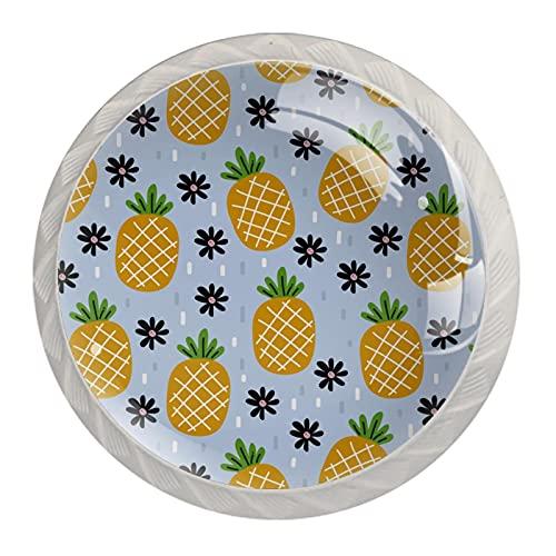 Piñas patrón de verano, paquete de 4 pomos de gabinete sólidos para cajones redondos de cristal para cocina, armario, baño