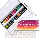 Set de pintura para acuarela, 24 sartenes vibrantes + pincel de mezcla, profesional, suministros de arte premium con paleta de mezcla, perfecto para pintar, caligrafía, diario y letras - Creativepeak