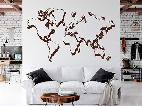 Wandaufkleber Weltkarte Umrisse – Weltkarte Aufkleber – Große Weltkarte Wandaufkleber, Weltkarte Decor Home Living Office Schule Bibliothek