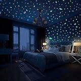 Hiveseen 490 Pcs Estrellas Fluorescentes, 3 Colores LuminosoPegatinasdePared Contiene Luna, Estrellas, Planeta, Meteorito, Puntos y Estrella de Anís para Dormitorio de Niños DIY Decoración