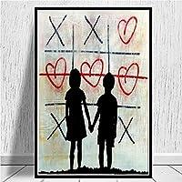 兄と妹のキャンバスポスタープリントバンクシーアートワークグラフィティアート愛の心の絵画写真現代の家の壁の装飾60x90cmフレームレス