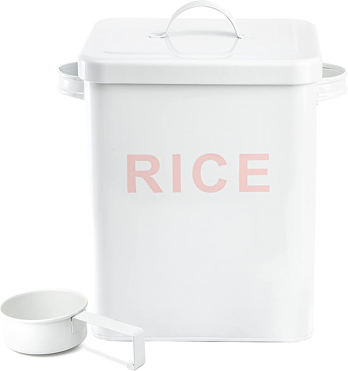 YOUEON Metal Rice Container Flour Storage Tin with Lid and Measuring Scoop, Square Food Storage Canister Kitchen Sundries Bucket for Cereal, Beans, Pet Food, White