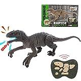 Remote Control Dinosaur Toys for Kids 3-5 6 7 8, Walking Robot Dinosaur w/ LED Light Up & Roaring 2.4Ghz Simulation Velociraptor Best Gift RC Dinosaur Toys Gifts for Boys & Kids