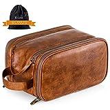 trousse de toilette cuir imperméable de voyage pour hommes maquillage organisateur grande capacité sac à cosmétiques avec Étanche sac sec humide (marron)