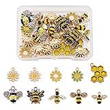 Craftdady 28 colgantes colgantes de abeja de esmalte amarillo con diseño de abeja y margaritas en forma de panal de abeja para hacer joyas, manualidades, agujero: 1,2 – 2 mm
