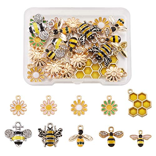 PandaHall 28pcs Bees & Daisy & Honeycomb Enamel Charms Pendants Mixed Color Alloy Flower Dangle Pendant for DIY Jewelry Making