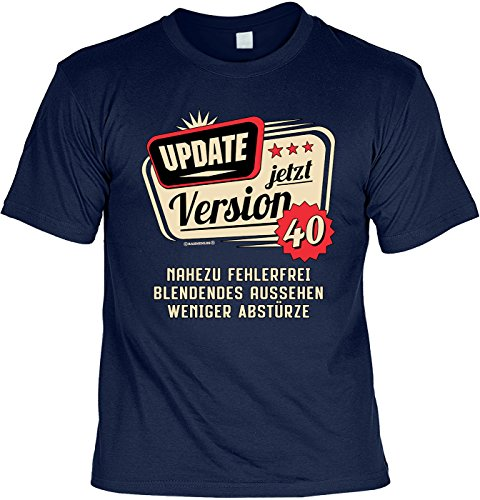 lustiges T-Shirt 40 Geburtstag 40 Jahre Leiberl Papa Geschenk zum 40 Geburtstag 40 Jahre Geburtstagsgeschenk 40-jähriger Update Version 40 Nahezu fehlerfrei Gr: M