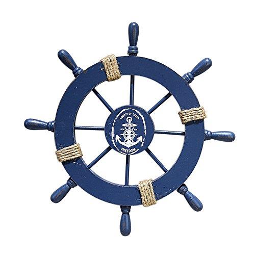 Madera decorativa de pared con diseño de timón de barco y red de pesca, madera, azul, medium