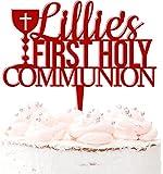 Decoración para tartas de acrílico con nombre personalizado para primera comunión en 20 colores, color rojo oscuro