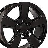 OE Wheels LLC 20 Inch Fits Chevy Silverado Tahoe GMC Sierra Yukon Cadillac Escalade CV76 Gloss Black 20x9 Rim Hollander 5652