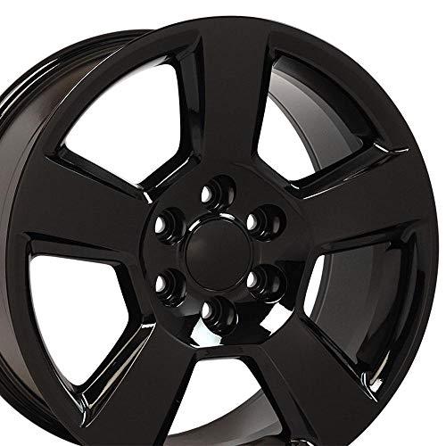 OE Wheels LLC 20 Inch Fits Chevy Silverado Tahoe GMC Sierra Yukon Cadillac Escalade CV76 20x9 Rims Gloss Black SET