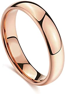 Mifan Titanium Tungsten Gold Plated Ring for Men Women Wedding Engagement Anniversary Valentine's Day Gift Plain Shining Dome Banner