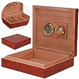 Shoze Cigar Humidor,Brown Cedar Wood Wooden Lined Cigar Humidor Humidifier + Hygrometer Case Box