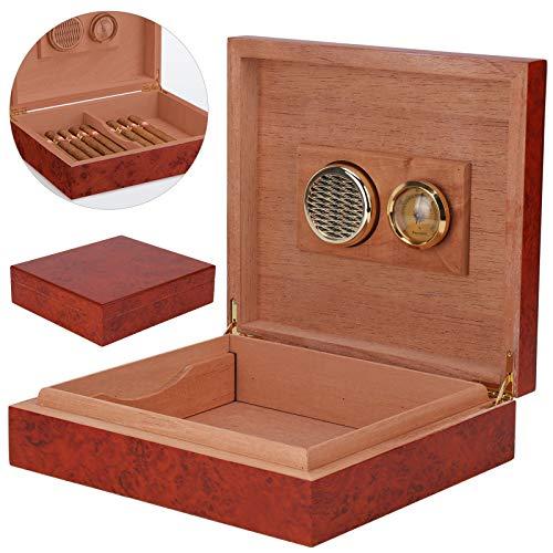 Shoze Cigar Humidor,Brown Cedar Wood Wooden Lined Cigar Humidor Humidifier...
