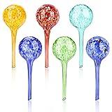 Aceshop Set of 6 Multicolored Glass Plant Watering Globes Bolas de Riego Prácticas Bolas para Regar Plantas en Vacaciones Globos de Riego Paquetes de la Planta de Cristal Que Riegan 15x6cm,100ml