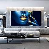 Sexy labios dorados mujer africana pinturas en lienzo en la pared carteles e impresiones artísticos media cara imágenes de niña negra para la decoración de la sala de estar pintura 30x60cm con marco
