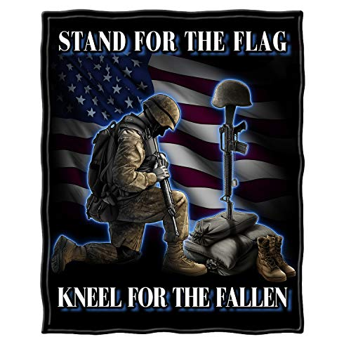 Erazor Bits Military Throw Blanket,Stand for The Flag, Kneel for The Fallen Blanket, US Veterans Cozy Fleece Bed Spread, Solider Kneeling Cover MM2323-TB (50 x 60 Inches)