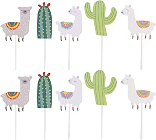 10pcs Cake Toppers Paper Cactus Alpaca Pattern Cake Fruit Picks Dessert Table Decorative Supplies Unisex