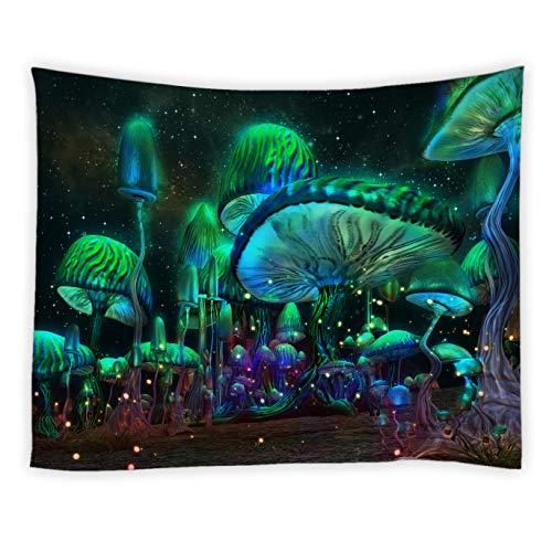 BCNEW Psychedelic Pilz Tapisserie Fantasy Waves Hippie Wandbehang Nebel Galaxie Trippy Tapisserien Polyester Stoff Wanddekoration für Schlafzimmer Wohnheim College Wohnzimmer 152,4 x 139,9 cm
