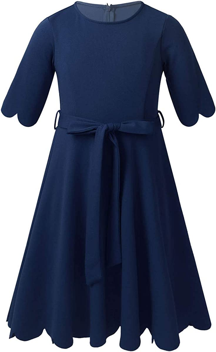 ranrann Girls Casual Dress 3/4 Sleeves A-line Party Dress Birthday Outfits Knee Length Summer Sundress Casual Daily Wear