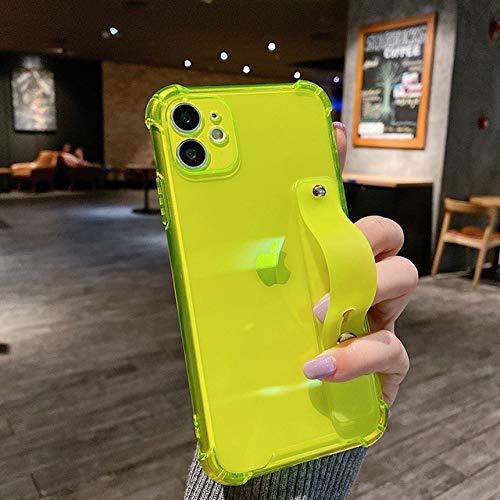 FYMIJJ Funda de teléfono Transparente Colorida con Correa para la muñeca para iPhone 12 Pro 11Pro MAX XS MAX XR Funda de Silicona con Soporte para iPhone 7 8 Plus, T4, para iPhone XS
