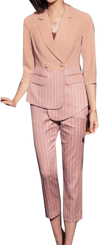 Doanpa Women Notch Lapel Strip Irregular Work Blazer Jacket Long Pants