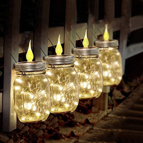 OSALADI Solar Einmachglas Licht, 4er Pack hängendes Einmachglas Solar Laterne Flammenlose Kerzenlichter (Gläser nicht im Lieferumfang enthalten) für Patio Garden Fairy Wedding Party Decor