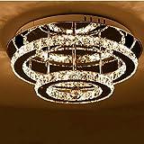 Lámpara de Techo de Cristal LED Moderna de 36W con Estilo de Brillo de Diamante K9 Lámpara de Araña de Cristal de Acero Inoxidable con Colgante, Luz Blanca Cálida