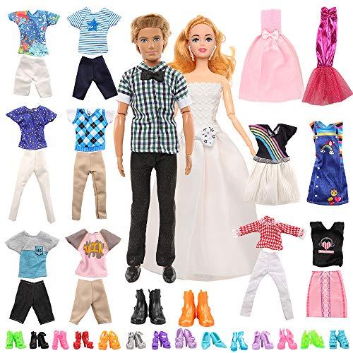 Miunana Lot 23 = 2 Abendkleider + 5 Kleidung + 10 Schuhe für Barbie Puppen + 4 Kleidung + 4 Hosen + 2 Schuhe für Jungen Puppen