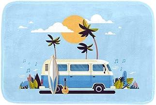 EGGDIOQ Doormats Summer Vacation Bus Custom Print Bathroom Mat Waterproof Fabric Kitchen Entrance Rug, 23.6 x 15.7in