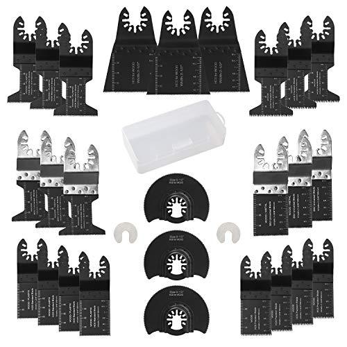 electrapick 26 Piezas Accesorios para Herramientas Oscilantes Multifunción Cuchillas oscilantes Parkside Dewalt Ryobi Bosch para Corte de madera/metal y plástico con 2 separadoras