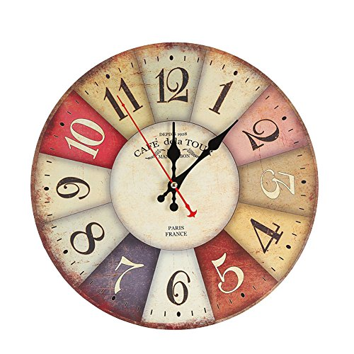 Elikeable Decorative Wall Clock,12 Vintage Wooden Decorative Round Beach Silent Wall Clock Non Ticking for Home Decor (Colorful)