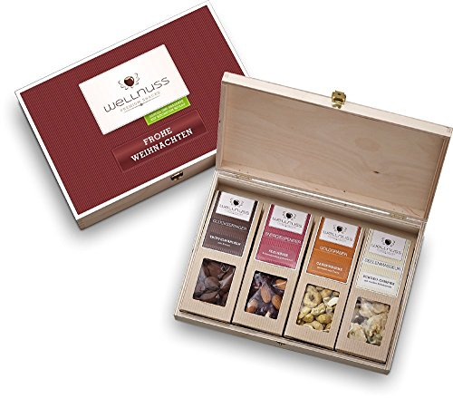 wellnuss Weihnachtsgeschenk: 4 Premium Nuss- und Schokoladen-Snacks in der Geschenkbox aus Birkenholz mit der Schmuckverpackung
