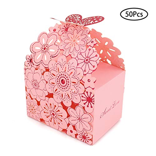 Kslong 50Pcs Flower Butterfly Hollow Candy Box Cookie Gift Boxes Romantic Wedding Favors Cute Chocolate Box for Wedding Bridal Birthday Party Supplies (Pink, L)