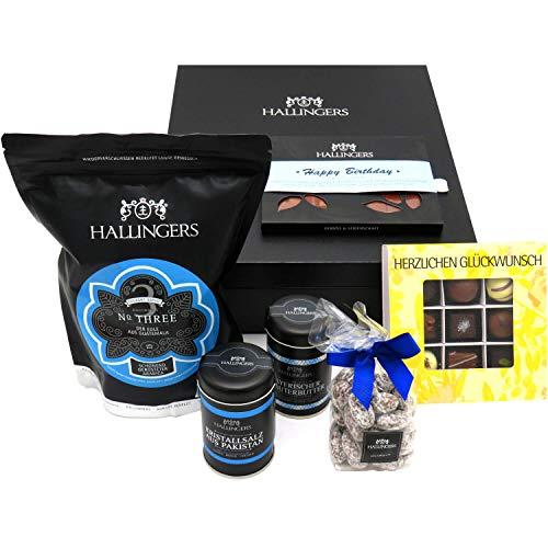 Hallingers Geschenk-Set in edler Box (1.123g) - Happy Birthday Blue (Genussbox) - zu Weihnachten Geburtstag