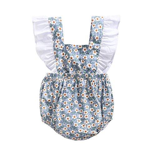 Sanlutoz Recién Nacido Algodón Niñas Bebés Monos Moda Floral Verano Bebé Ropa (18-24 Meses, BRS8042)