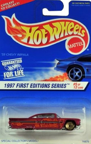 HOT WHEELS '59 Chevy Impala #517 1997 First Editions W/GOLD SEVEN SPOKES California