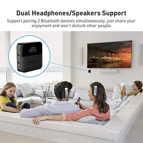SONRU Transmisor Receptor Bluetooth 5.0, 2 en 1 Adaptador Bluetooth de Audio, aptX HD/aptX LL Baja Latencia, Tiempo Reproducción de 24 Horas, Toslink/RCA/AUX Cable, para TV/Sistema Estéreo