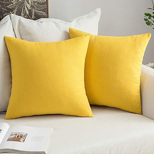MIULEE 2er Pack Kissenbezug Kopfkissenbezug Leinen Kiessehülle für Sofa Schlafzimmer Auto mit Reißverschlüsse 45x45 cm Kissenbezüge Zitronengelb